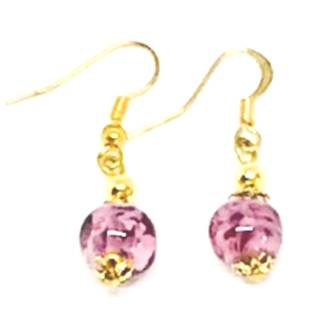 Murano Glass Bead Earrings - Corintia - (Pink/Gold)