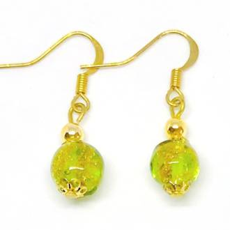 Murano Glass Bead Earrings - Corintia  Green-Gold (A)