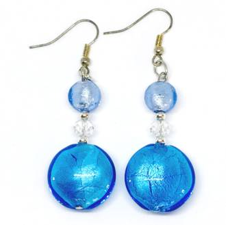 Murano Glass Bead Earrings - Serena - Aqua/Pale Blue