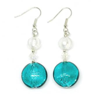 Murano Glass Bead Earrings - Serena  - White/Green