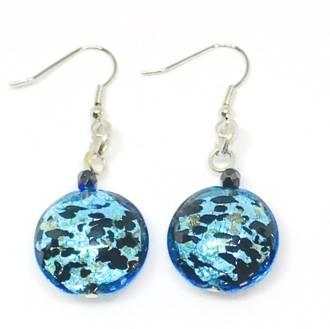 Murano Glass Bead Earrings - Colette - Aqua Black