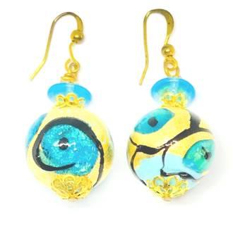 Murano Glass Bead Earrings - Peacock (Gold/Aqua/Black)