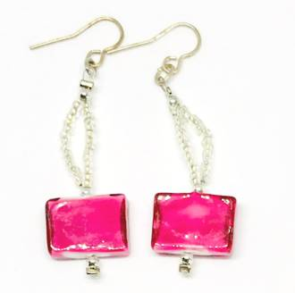 Murano Glass Bead Earrings - Rosa (Silver/Pink/White)