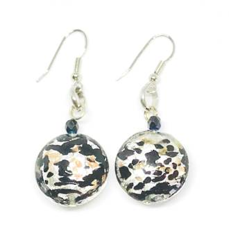 Murano Glass Bead Earrings - Colette - Silver-Black