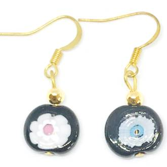 Murano Glass Bead Earrings - Nerida (Black)