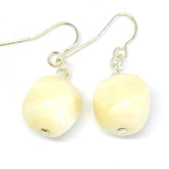Murano Glass Bead Earrings - Cream