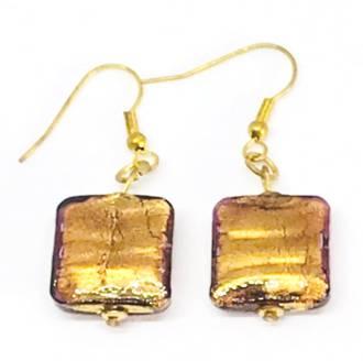 Murano Glass Bead Earrings - Lucia (square - Bronze)