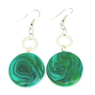 Murano Glass Bead Earrings - Tiziana Green