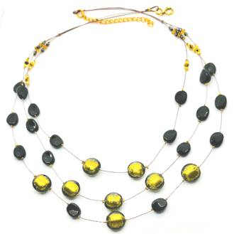 Murano Glass Bead Necklace - Lidia - Bronze/Black