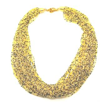 Murano Glass Bead Necklace Fenice 48 Strands - Gold/Black