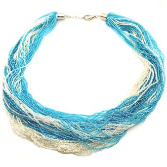 Murano Glass Bead Necklace Fenice 45 Strands - Aqua/Silver