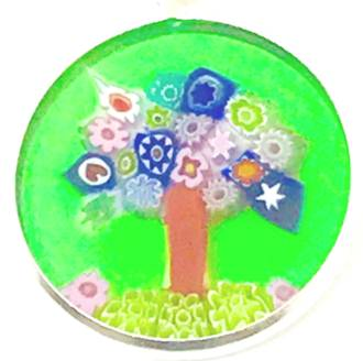 Murano Glass Pendant Millefiori 18mm - Tree of Life (Green)