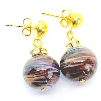 Murano Glass Bead Earrings - Estate - Brown tones