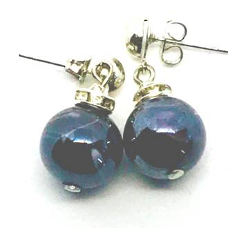 Murano Glass Bead Earrings - Estate - Black/Lilac