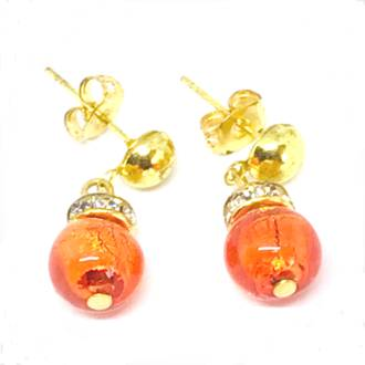 Murano Glass Bead Earrings - Fiorella - Orange (gold foil)