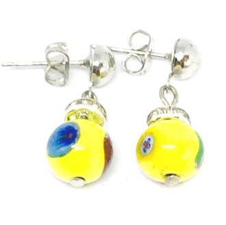 Murano Glass Bead Earrings - Fiorella - Yellow Millefiori