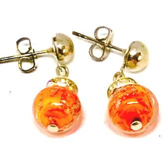 Murano Glass Bead Earrings - Fiorella - Orange (Rose Gold foil)
