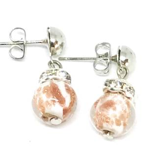 Murano Glass Bead Earrings - Fiorella White (Rose Gold Foil)