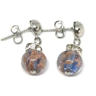 Murano Glass Bead Earrings - Fiorella Blue (Rose Gold Foil)