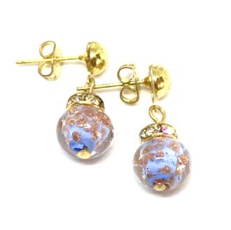 Murano Glass Bead Earrings - Fiorella Light Blue (Rose Gold Foil)