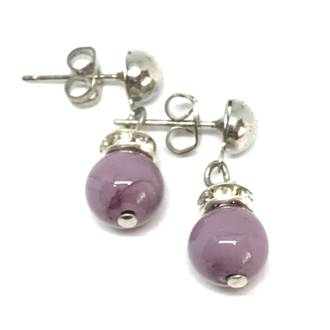 Murano Glass Bead Earrings - Fiorella Lilac