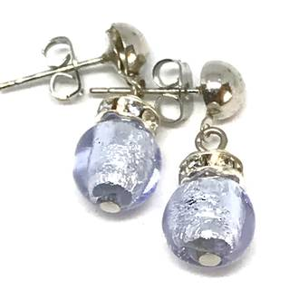Murano Glass Bead Earrings - Fiorella Lilac (Silver Foil)
