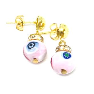 Murano Glass Bead Earrings - Fiorella - PInk Millefiori