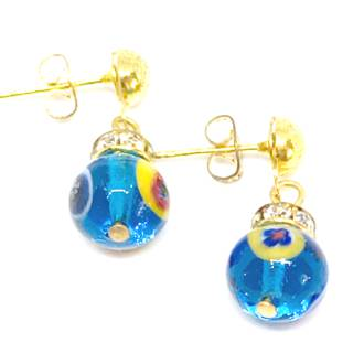 Murano Glass Bead Earrings - Fiorella Aqua with Millefiori Beads