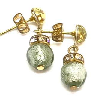 Murano Glass Bead Earrings - Fiorella Grey (Silver Foil)
