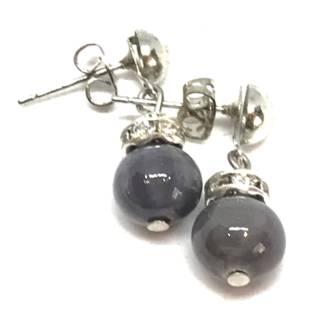Murano Glass Bead Earrings - Fiorella Grey