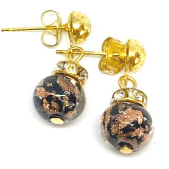 Murano Glass Bead Earrings - Fiorella Black (Rose Gold Foil)