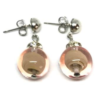 Murano Glass Bead Earrings - Estate (pink/silver)