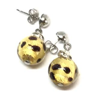 Murano Glass Bead Earrings - Estate - Gold leaf with brown detail