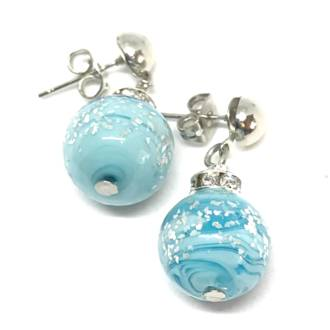Murano Glass Bead Earrings - Estate - Aqua with silver foil