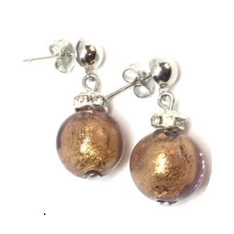 Murano Glass Bead Earrings - Estate - Bronze (silver foil)