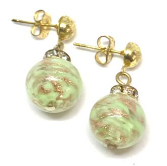 Murano Glass Bead Earrings - Estate - Green (rose gold foil)