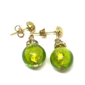 Murano Glass Bead Earrings - Estate - Green (Silver foil)