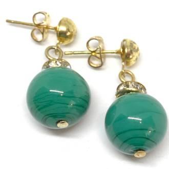 Murano Glass Bead Earrings - Estate - Green