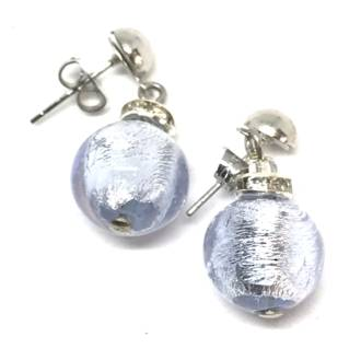 Murano Glass Bead Earrings - Estate - Blue with silver foil