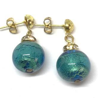 Murano Glass Bead Earrings - Estate - Green (gold foil)