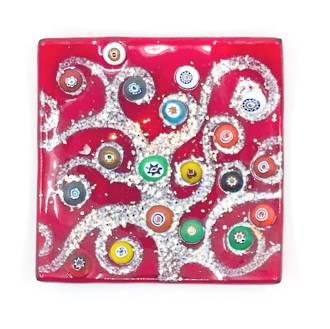 Murano glass Fantasy dish - Red with Millefiori beads