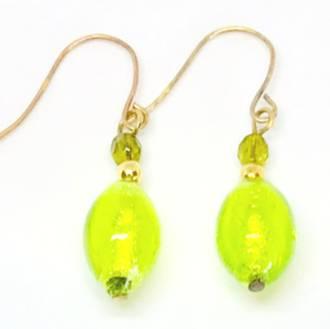 Murano Glass Bead Earrings - Acqua (green/gold)