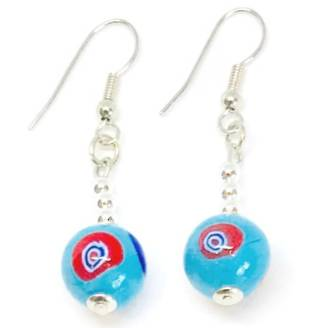 Murano Glass Bead Earrings - Carolina Aqua 10mm
