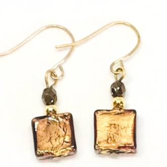 Murano Glass Bead Earrings - Sabbia (Bronze)