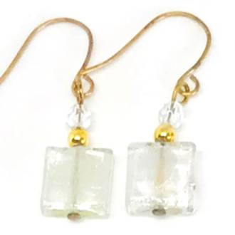 Murano Glass Bead Earrings - Sabbia (Silver)