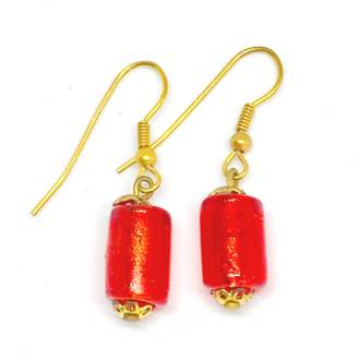 Murano Glass Bead Earrings - Lisa (Red/Gold)