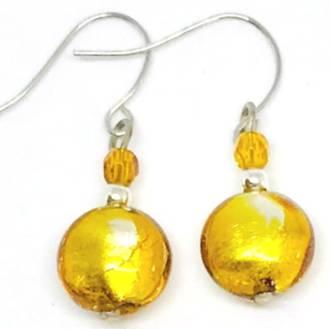 Murano Glass Bead Earrings - Mare (Amber/Silver Leaf)