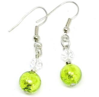 Murano Glass Bead Earrings - Oceano (Lime Green/Silver)