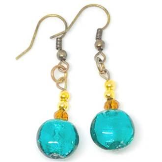 Murano Glass Bead Earrings - Mare (sea green/gold)
