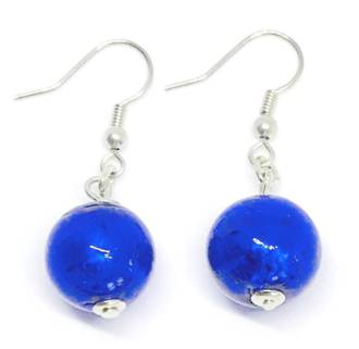 Murano Glass Bead Earrings - Marta - Blue/Silver foil